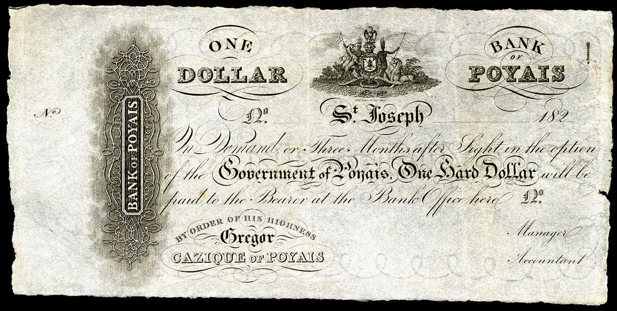 https://en.wikipedia.org/wiki/File:Bank_of_Poyais-1_Hard_Dollar_(1820s)_SCAM.jpg