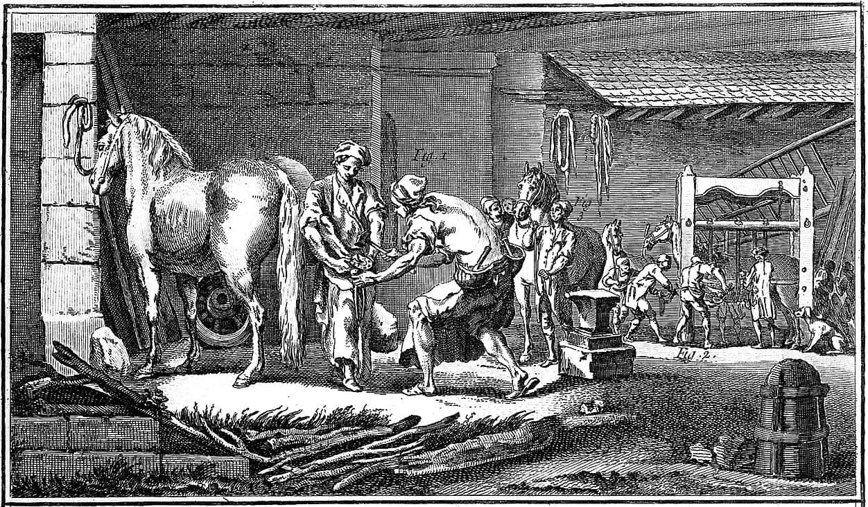 https://commons.wikimedia.org/wiki/File:Marechal_Ferrant_et_Operant_(Farrier_shoeing_a_horse)_Wellcome_L0019357.jpg