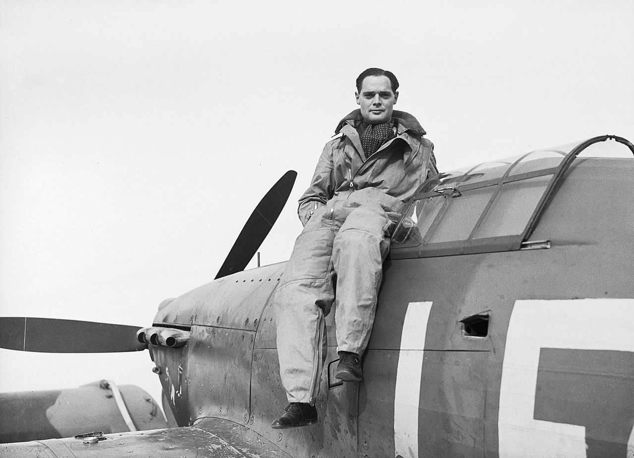 https://commons.wikimedia.org/wiki/File:Squadron_Leader_Douglas_Bader,_CO_of_No._242_Squadron,_seated_on_his_Hawker_Hurricane_at_Duxford,_September_1940._CH1406.jpg
