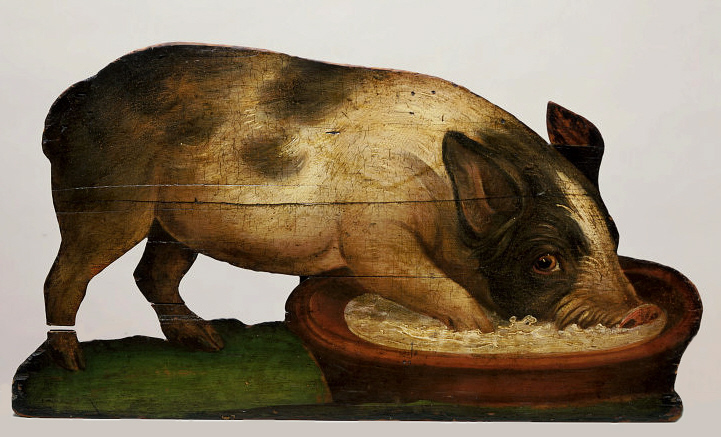 https://commons.wikimedia.org/wiki/File:Dummy_board_Pig_feeding_from_a_bowl_W81-1926.jpg
