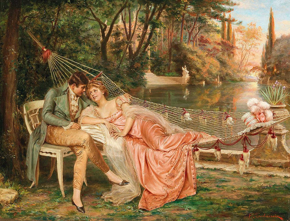 https://commons.wikimedia.org/wiki/File:Fr%C3%A9d%C3%A9ric_Soulacroix_-_Flirting_in_the_Park_of_the_Villa_Borghese,_Rome.jpg