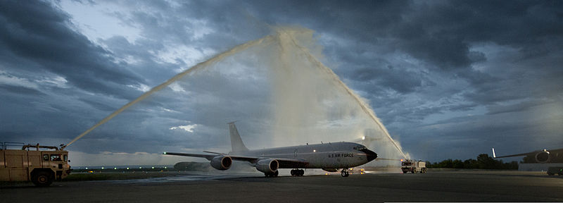 https://commons.wikimedia.org/wiki/File:U.S._Air_Force_fire_trucks_spray_water_over_a_KC-135_Stratotanker_aircraft_during_the_final_flight,_or_fini_flight,_for_Col._Corey_Martin,_the_commander_of_the_376th_Air_Expeditionary_Wing,_at_Transit_Center_130604-F-LK329-001.jpg