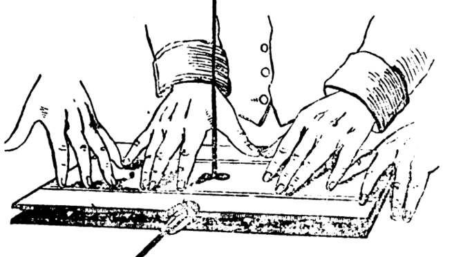 https://commons.wikimedia.org/wiki/File:Faraday_apparatus_for_ideomotor_effect_on_table_turning.png